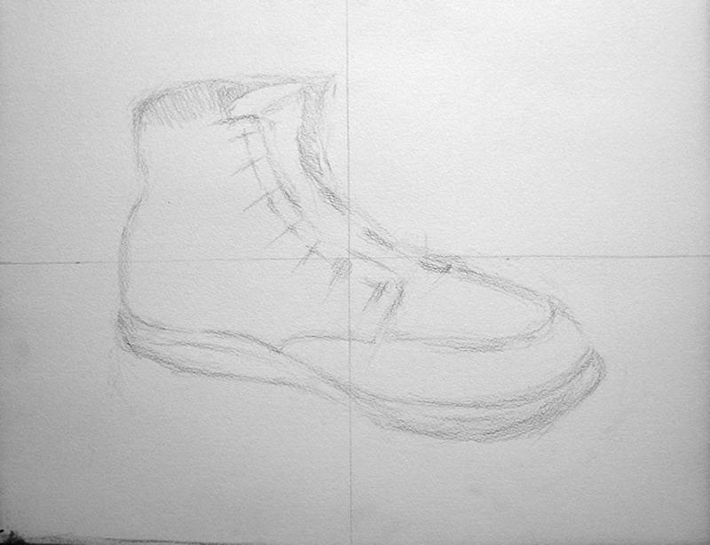 靴の鉛筆デッサン描き方過程2